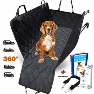 Housse de siège pour chien voiture universelle Imperméable! Protection complète banquette arrière auto+portières + ceinture de sécurité. Couverture pour animaux de qualité supérieure!