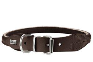 Hunter Collier en cuir d'élan rond et souple pour chien, 41-46cm