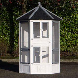 JoyPet.eu Volière Cage à Oiseaux Hannah 127x187cm Blanc-Gris