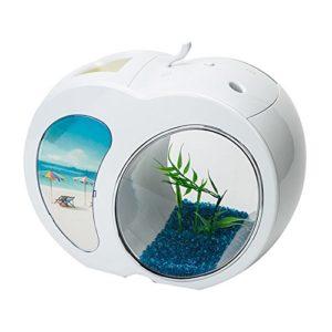 KEM pour Animal Domestique Bol de Poisson en Acrylique Desk Top Table Aquarium avec éclairage LED Alimenté par USB
