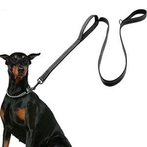Laisse de chien, laisse 1.5m de long, 2 poignées pour un contrôle supplémentaire, ceinture ergonomique robuste en nylon pour plus de contrôle de la sécurité, idéal pour les chiens de taille moyenne à grande Noir.
