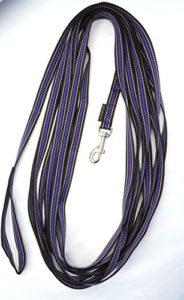 Laisse longue avec poignée 15 m x 20 mm 3 couleurs Noir, gris, violetNoir/ Gris/ Violet.