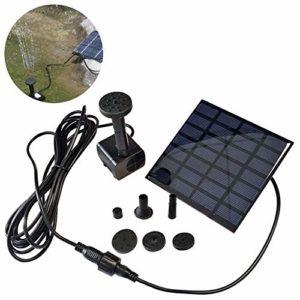 LARS360 1.2W Solaire Pompe pour fontaines Pompe à eau solaire Pompe de bassin solaire pour décoration de petit étang de jardin extérieur avec 4 Buses