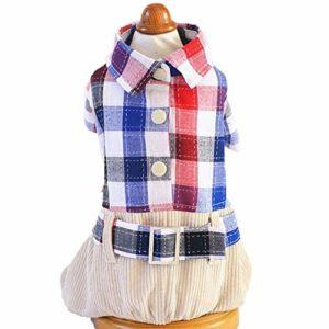LWLEI Animaux Plaid Chemise De Chien De Costume À Quatre Pattes Mode Chemise À Carreaux Toutous Dog Convient Aux Petites Et Moyennes Chiens De Taille Moyenne Animal (Couleur : Rouge, Taille : S)