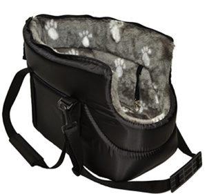 Malweera Sac de transport en fourrure pour chien, chat, animal domestique Noir et fourrure grise