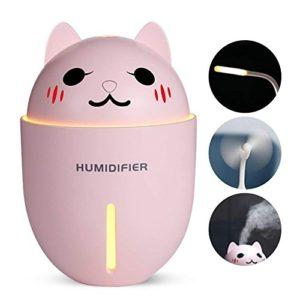 Mignon Kitty 320 ml Mini Humidificateurs de Brume Frais, Humidificateur d'Air 3-en-1 + Ventilateur de Refroidissement + Lumière de Nuit, pour Chambre, Chambre de Bébé, Bureau et Voyage (Pink)