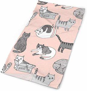 N/A Tissu pour chat mignon chat chat chat motif animal de compagnie par Andrea Lauren – Rose et gris bandeaux bandana casquette écharpe masque tour de cou cache-cou protection UV