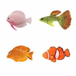 NUMAMA Lot de 4 Poissons artificiels pour Aquarium Décoration colorée Décoration de Paysage Décoration Flottante
