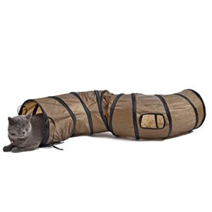 PAWZ Road Tunnel pour Chat Lapin 2 Trous, Jouets Chats 130 x 25cm Marron