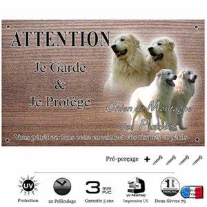Pets-Easy.com Attention Chien de Garde personnalisée Chien de Montagne des pyrénées – pré percée et vis comprises. De 30 cm à 15 cm…