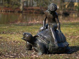 pompidu-living Gargouille Jeunes avec Tortue, Bronze Fonte