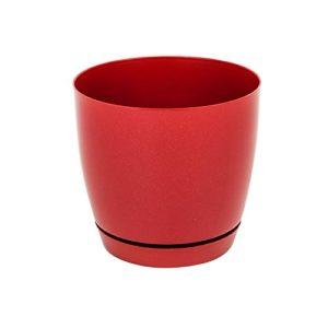 Pot de fleur Toscana en plastique rond 15 cm avec soucoupe, en rouge
