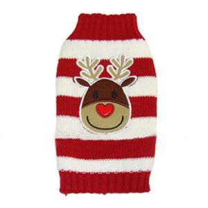 Pull-over Sweater à Rayures Rouges et Blanches Motif de Renne de Noël pour Chien (L)
