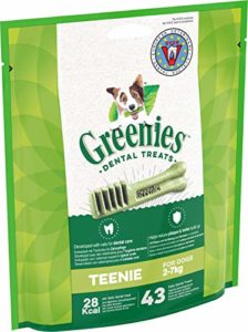 Sachets de 340g Contenant 43 Friandises Dentaires Quotidiennes Teenie de Greenies pour Chiens de 2 à 7kg