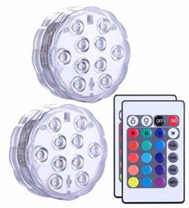 Alilimall Lumière Submersible de LED avec la télécommande, imperméabilisent la Lampe Multi de Couleur pour des piscines, Bains Chauds, Vase de Base, Aquarium, étang, Partie, éclairage