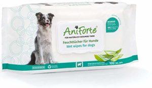 AniForte Lot de 100 lingettes désodorisantes pour chien avec fermeture fraîcheur, hypoallergéniques, douces et résistantes aux déchirures, biodégradables, nettoyage naturel