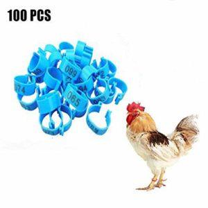 Anneaux de Bandes de Cuisse d'oiseau de Poulet, Lot de 100 Anneaux pour Pattes d'oiseau en Plastique numérotés 18 mm 001-100 pour volailles et Canards