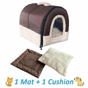 ANPI 2 en 1 Niches & Maison d'Animal Familier, Antidérapant Pliable Doux Chaud Chien Chat Chiot Lapin Pet Nid Grotte Maison Lit avec Coussin Amovible, 3 Tailles (S, Brune)