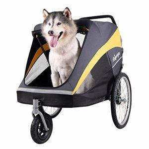 Aoligei Pet Roadster – Poussette pour Chien Or Bus Panier Gros Chien sur Chariot