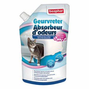 BEAPHAR – Absorbeur d'odeurs – Granulés pour litière pour chat – Formule concentrée – Neutralise les mauvaises odeurs – Laisse un agréable parfum (Orchidée) – 400 g = jusqu'à 3 mois d'utilisation