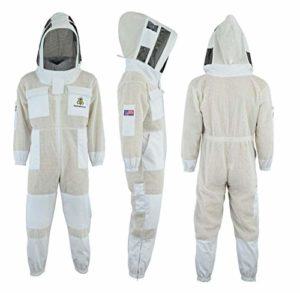 Bee Suit Fencing Veil SFV-Professional Choice 3 Couches Ultra ventilé sécurité Costume Unisexe Blanc api Costume Costume Apiculteur Costume Apiculteur – Tenue Voile d'escrime (M)