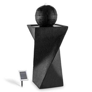 Blumfeldt Fontaine solaire (socle de basalte, boule déco, lumière LED à énergie solaire, batterie, panneau solaire 2 W, surface photovoltaïque de 300cm²)