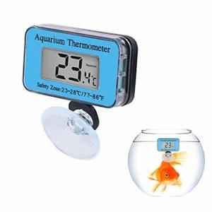 COCOCITY Lot de 2 LED Thermomètres Aquarium, Thermomètre Digital Numérique Étanche avec Ventouse sous Eau pour Aquarium, Terrarium et Vivarium