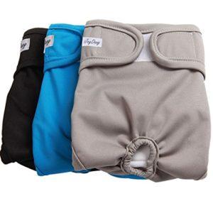 couches de chien pour la femelle (paquet de 3), confortable durable, de haute qualité lavable moyennes grandes couches de chien culottes réutilisables moyennes pour animaux de compagnie par JoyDaog, L