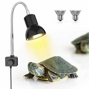 DADYPET Lampe Terrarium avec Support, 2 Ampoules Basking Spot UVA UVB 25W avec Pince pivotante à 360 ° et Adaptateur Secteur EU, Lampe Chauffante Terrarium pour Reptiles et Amphibiens