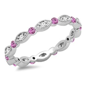 DazzlingRock Collection 10 carats Or Blanc Rond I-J Rose Diamant Blanc Saphir Rose