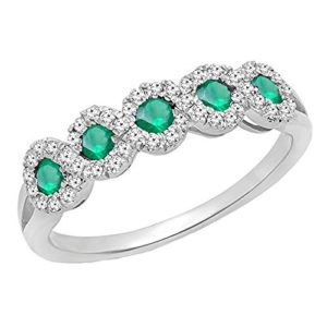 DazzlingRock Collection 10 carats Or Blanc Rond Vert Smaragd