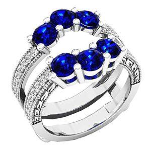 DazzlingRock Collection 18 carats Or Blanc Rond Bleu I-J Bleu – Saphir Diamant Blanc