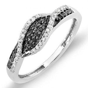 DazzlingRock Collection 18 carats Or blanc Rond IJ Noir Diamant blanc Diamant noir