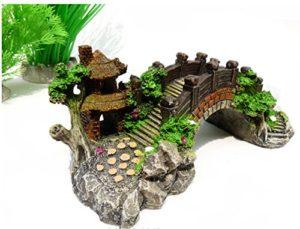 Delicated Aquarium Décoration Pont Arbre Pavillon pour Fish Tank Résine Ornements