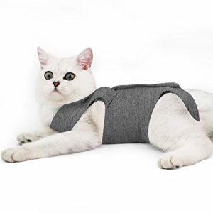 Doton Cat Professionnel Restauration Convient pour abdominaux Collerette des plaies ou des Maladies de la Peau, Alternative pour Chiens et Chats, après la Chirurgie Porter, Maison Vêtements (L, Gris)