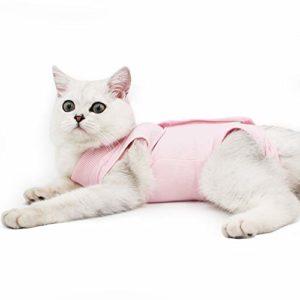 Doton Cat Professionnel Restauration Convient pour abdominaux Collerette des plaies ou des Maladies de la Peau, Alternative pour Chiens et Chats, après la Chirurgie Porter, Maison Vêtements(M,Rose)