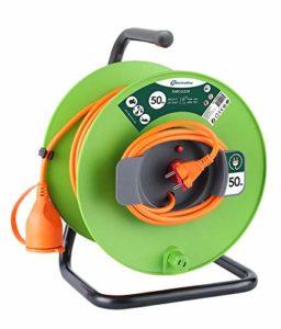 Electraline 20866139F Rallonge Prolongateur Jardín 50 m avec enrouleur 16A – Section 2×1,5 mm² Orange/Vert