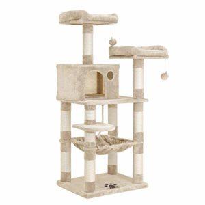 FEANDREA Arbre à Chat, Tour avec 2 perches, Hauteur 143 cm, Beige PCT15BE