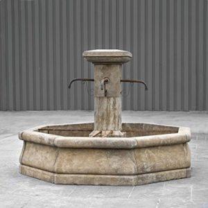 Fontaine de jardin, dorfbrunnen avec colonne d : 200 cm en pierre reconstituée weissgrau