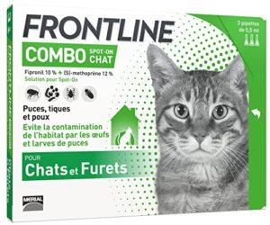 FRONTLINE Combo Chat – Anti-puces et anti-tiques pour chat – 3 pipettes
