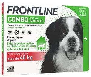 FRONTLINE Combo Chien – Anti-puces et anti-tiques pour chien – plus de 40kg – 4 pipettes