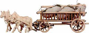 Holzschnitzerei Oswald Amort 2 Cheval clouté avec traîneaux et Foin | Hauteur: 13 cm | Nature – Non Peinte