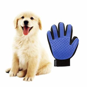 HORIZONTAL Gant de massage/brossage pour chien/chat Idéal pour masser et retirer les poils de vos animaux de compagnie (un)