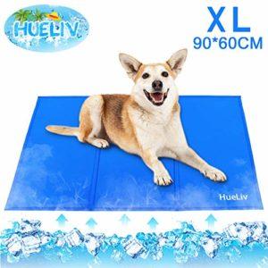 HueLiv Tapis rafraîchissant pour chien, grand tapis rafraîchissant pour animaux de compagnie, gel non toxique activé par pression, idéal pour chiens et chatspour rester au frais cet été, bleu 90*60CM