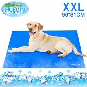 HueLiv Tapis rafraîchissant pour chien, grand tapis rafraîchissant pour animaux de compagnie, gel non toxique activé par pression, idéal pour chiens et chatspour rester au frais cet été, bleu 96*81CM