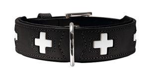 HUNTER Hundehalsband Swiss, Collier de chien en cuir, 42, Noir