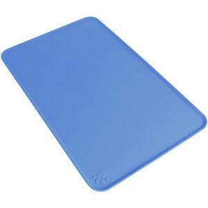 igadgitz Home Tapis de Nourriture en Silicone pour Animaux 47x30cm Tapis Gamelle Antidérapant pour Bols Chien Chat – Bleu