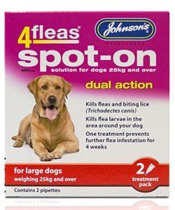 Johnsons 4Fleas Double Action Puces et Poux Spot On pour Grands Chiens (Chiens sur 25kg)