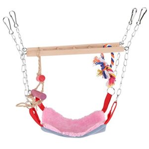 Jouet Escalade Perroquet oiseaux en bois coloré Balançoire Lit suspendu avec accessoires jouets pour Animaux de compagnie(Rose)