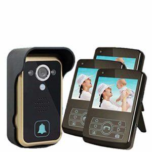 JPJING 1 Drag 3 sans Fil Vidéo Interphone Sonnette 3.5 Pouces Villa Ménage Déverrouillage Distant Intelligente Doorbell